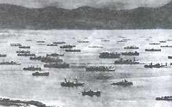 Корабли союзников накануне высадки войск на юге Франции. 1944 г.