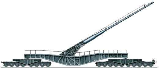 Сверхдальнобойная 21-см железнодорожная установка К12(Е), Германия, 1938 год.